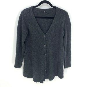 Eileen Fisher Merino Wool Cashmere Button Cardigan